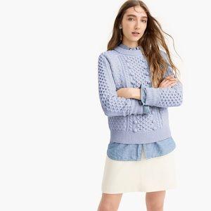 J. Crew Blue Popcorn Cable Knit Sweater Size M